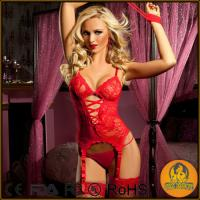 China Women Lace Lingerie Set Hollow out Red Lace on sale