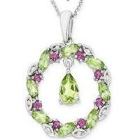 Wholesale Peridot & Rhodolite & Diamond Pendant from china suppliers