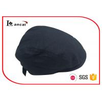 Wholesale Mens Cotton Adjustable Black Flat Cap Washable With Polyester Lining from china suppliers