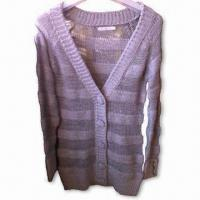 Wholesale Long Sleeves Cardigan, Suitable for Ladies, Made of 81% Acrylic, 14% Nylon and 5% Lurex from china suppliers