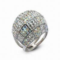 Wholesale Swarovski Jewelry, Sterling Silver Ring with Crystal Ring, in New Design from china suppliers