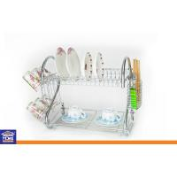 Wholesale Kitchen Utensils Chrome Wire 2 Layer Dish Rack , Cup Rack , Chopstick Rack and 1 pc Water Tray KTDR-8052 from china suppliers
