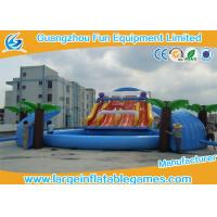 Wholesale Interactive Game Inflatable Water Slide And Pool Amusement Park , Fire Retardant 0.55mm PVC Mateiral from china suppliers