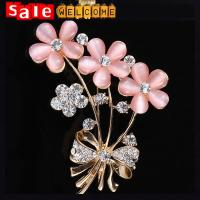 Wholesale Opal Brooch Big Gold Flower with Rhinestones Fine Jewelry Pashmina Loop Hijab Broches Pins from china suppliers