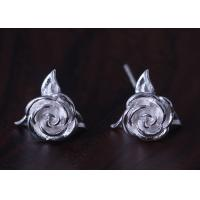 Wholesale Rose Shape 925 Sterling Silver Earrings Silver / Gold / Rose Gold Plated from china suppliers