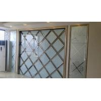 Wholesale Patterned Colored Decorative Glass Panels Bowlder  With Gold Frame from china suppliers