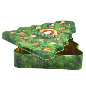 Quality Christmas tree shape candy / chocolate metal tin can, tin box for Christmas for sale