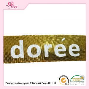 Quality Single face Satin Ribbon With Custom Logo , Gold custom printed award ribbons for sale