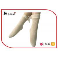 Wholesale Lace Bowknot Ladies Silk Socks , Light Cream Womens Nylon Ankle Socks from china suppliers