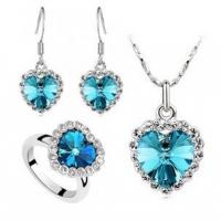 Quality Jewelry Austria crystal sea Necklace Earrings Ring Set with Cheap Price for sale