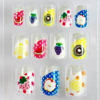 Wholesale ABS Plastic Colorful Fruit Fake Nails With Silver Glitter Fales Nail Cover from china suppliers