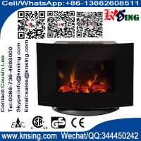 Wholesale Black Curved Tempered Glass Wall Mounted Electric Fireplace Heater LED flame log decoration room heater EF-11B/EF-11D from china suppliers