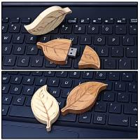 Wholesale Natural Retro Style of  Leaf  Wood USB Flash Drive High Speed USB 2.0 128MB - 64GB from china suppliers