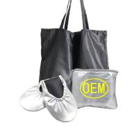 Wholesale Wedding Club Silver Dancing Shoes for Women Foldable Ballet with Expandable Tote Bag OEM Factory from china suppliers