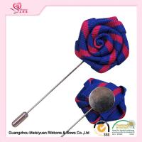Wholesale Double Color Grosgrain Ribbon Rose Flower Lapel Pin For Men' s Clothing from china suppliers