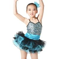 China Endearing Dance Competition Wear Sweetheart Bodice Blue Short Dresses , Neck Collar Bodice Layered Frill Dress for sale