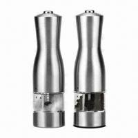 Wholesale Electric Pepper and Salt Mill, Made of Fine Quality Stainless Steel, Measures 5.2 x 22.5cm from china suppliers