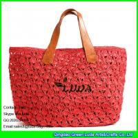 Wholesale LUDA raffia straw woven shopping bag red beach straw sea shoulder bag from china suppliers
