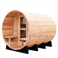Quality Outdoor 7foot by 7 foot for 3-4 Person Red Cedar Barrel Sauna Room With Harvia Elecrical sauna heater for sale