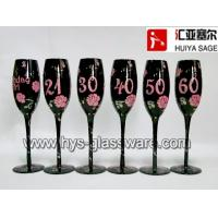 Buy cheap Birthday champagne glasses, black glass with decals, 6 designs from wholesalers