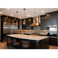 Wholesale L - Shape Integrated Style Pvc Kitchen Cabinets With Island Bench Black Color from china suppliers