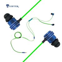 Wholesale Xibter Noodles Green Cable Game Earphone Deep Bass Stereo 3.5mm In Ear Headphone With Inline Microphone For Cellphone PC from china suppliers