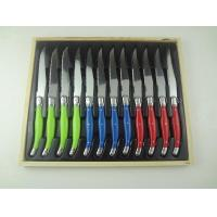 "Quality 12pcs laguiole steak knife set  in wooden box cheaper price laguiole knife colorful handle 4.5"" 2Cr14 material for sale"