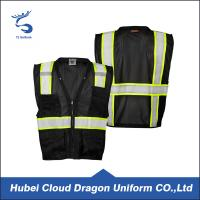 Wholesale Polyester Fabric Security Guard Jackets , Visibility Multi Pocket Black Mesh Vest from china suppliers