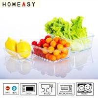 Quality Clear Vacuum Rectangular Glass Storage Containers With Plastic Lids for sale