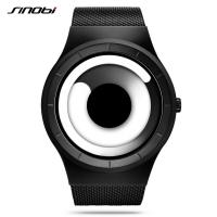 Wholesale SINOBI Unique Vortex Concept Watch Men High quality Stainless Steel Milan Band Modern Trend Sport Black Wrist Watches from china suppliers