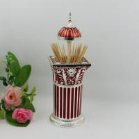 Wholesale Shinny Gifts Retro European High-End Peacock Hand Pressure Automatic Toothpick Holder&box from china suppliers