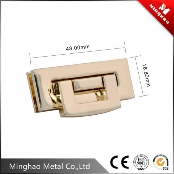 48*18.8mm Rectangle metal bag lock,zinc alloy light gold fashion purse lock