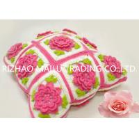 Buy cheap Multi Squares Hand Crochet Cushion Cover , Red Flower With Lovely Green Leaves from wholesalers