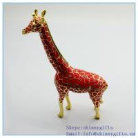 Quality Handmade enamel with rhinestone giraffe shape jewelry box for sale