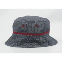 Buy cheap Grey Cotton Adult Fisherman Bucket Hat / Cap With Raised Embroidery Logo from wholesalers