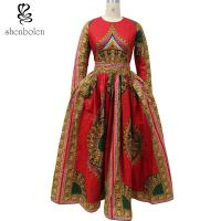 Wholesale African Dashiki Dress Bride Elegant O-Neck African Print Maxi Dress Special Design from china suppliers