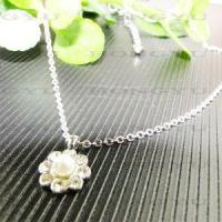 Wholesale Flower Sliver Necklaces with Pearl and Crystal from china suppliers