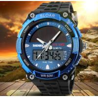 Wholesale Men Boy Solar Powered Dual Time Zones Waterproof Sport Wrist Watch Analog and Digital Watch 1049 from china suppliers