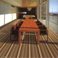 China Brown Polypropylene PVC Commercial Flooring Shaggy Striped Cut Pile on sale