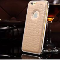 Crocodile Leather Back Case Metal Bumper Frame Cover For Apple iphone 6 6 Plus