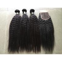 Wholesale Grade 8A Peruvian Curly Hair Extensions Kinky Straight With 4x4 Closure from china suppliers