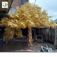Wholesale UVG 4m tall living gold banyan leaves artificial trees for outdoors GRE056 from china suppliers