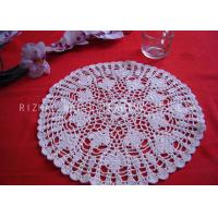 Wholesale Leaves Pattern Hollow Out Crochet Floor Rug , Round White Knitted Doilies from china suppliers