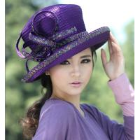 China Purple Womens Satin Church Hats with Feathers and Diamond Casing on sale