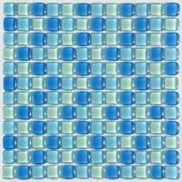 Wholesale Round Blue Crystal Glass Mosaic Tile, Cushion Look Bathroom Mosaic Floor Tiles from china suppliers