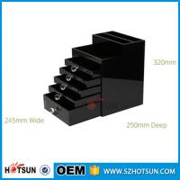 Wholesale New Style 2016 5 drawer crystal handle black acrylic jewelry storage box from china suppliers
