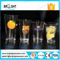 Wholesale clear 22oz 16oz 14oz 11oz water glass tumbler with customized decal logo from china suppliers