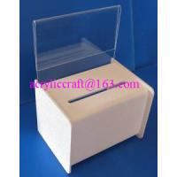 Wholesale Acrylic PMMA Donation Box Collection Box Suggestion Box With Sign Holder from china suppliers