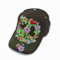 Wholesale Fashionable Ladies Baseball Cap with Heavy Embroidery at Front and Metal Button at Top from china suppliers