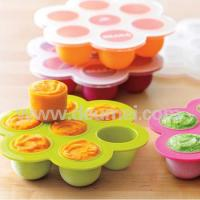 Wholesale Flexible Freezer Safe Silicone Baby Food Container/Silicone Ice Tray With Clip-On Lid from china suppliers